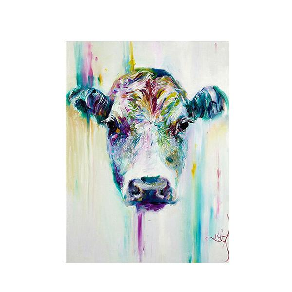 絵画 インテリアアート キャンバス パネルアート Abstract Cow 個性派 60cm×80cm シングルアート