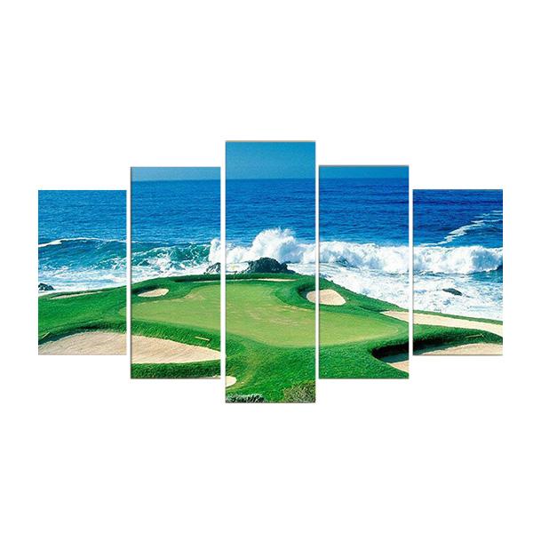 絵画 キャンバス パネルアート インテリアアートGolf Course Coast 5枚セット