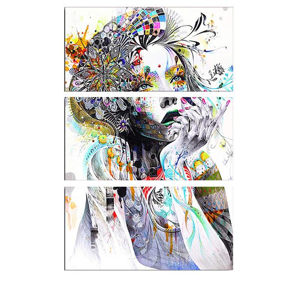 絵画 インテリアアート キャンバス パネルアートPsychedelic Girl Face 個性派 40cm×80cm 3枚セット