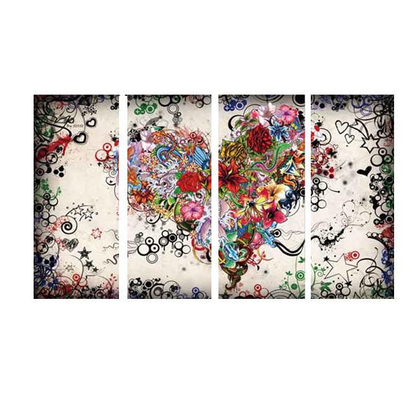 キャンバス インテリアアート パネルアート Flower love heart romance 個性派 30cm×80cm 4枚セット