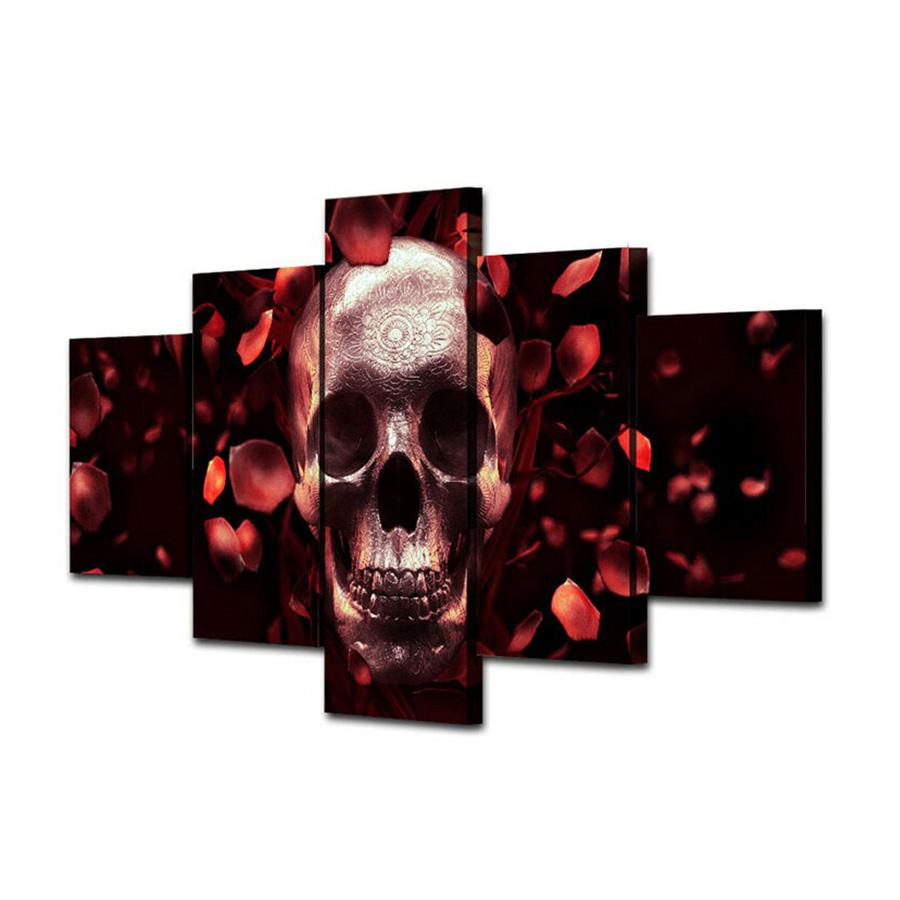 絵画 キャンバス パネルアート インテリアアート Red Rose Skull 5枚セット