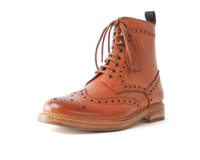 固特异皮革男装皮革启动伦敦 shoemake 靴子男装国家皮靴 (Tan)
