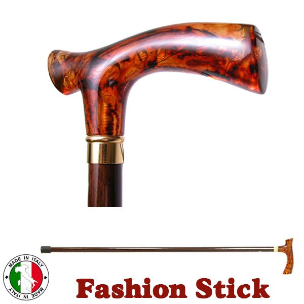 イタリア製 ウォーキング ステッキ ファッション 杖 T型 ブラウン べっ甲調 木製 長さ調節 ott-2092