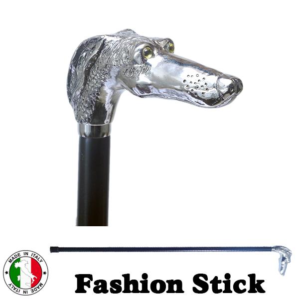 イタリア製 ウォーキング ステッキ ファッション 杖 グレイハウンド ドッグ シルバー 黒 長さ調節 ott-4316sl