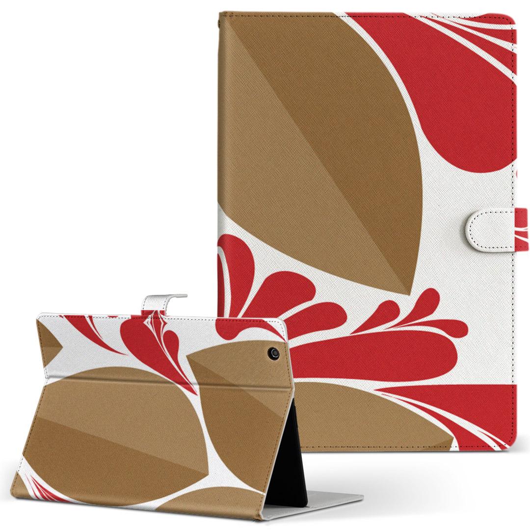 Qua tab 2020A/W新作送料無料 PZ 手帳型ケース 登場大人気アイテム レザー かわいい ダイアリー 人気 タブレット ケース カバー キュアタブ QuatabPZ 模様 001942 Lサイズ 赤 クール タブレットケース フラワー 花 革 フリップ 二つ折り 手帳型