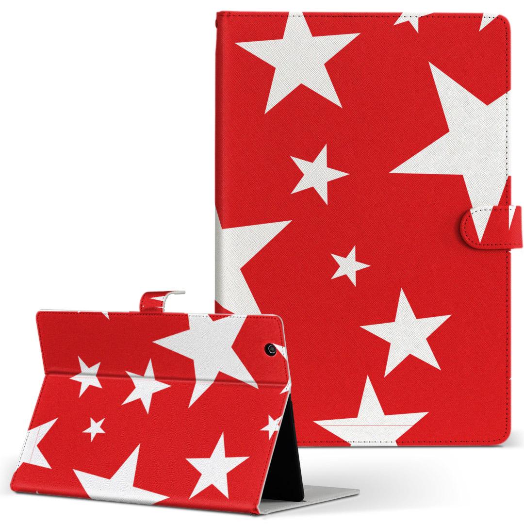 d-01J 手帳型ケース レザー かわいい ダイアリー 人気 タブレット ケース カバー Huawei dtab Compact ディータブコンパクト Mサイズ 買物 18%OFF d01jdtabct 二つ折り ラブリー 003939 赤 革 フリップ 白 タブレットケース 手帳型 星
