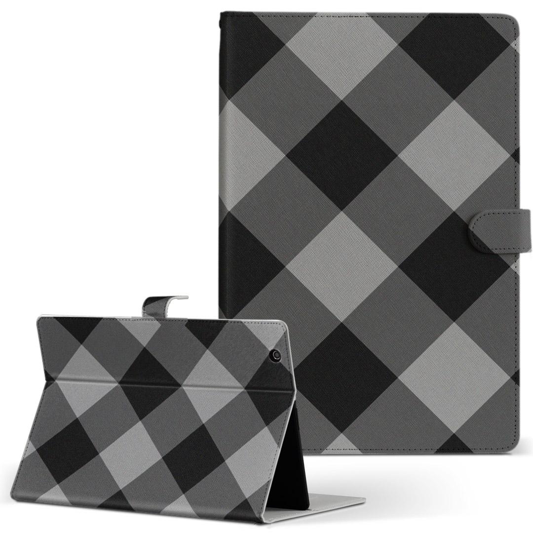 Qua tab PZ 手帳型ケース 売れ筋 レザー かわいい ダイアリー 人気 タブレット ケース カバー キュアタブ 二つ折り 革 チェック フリップ QuatabPZ 日本最大級の品揃え タブレットケース 004266 ボーダー 黒 Lサイズ 手帳型