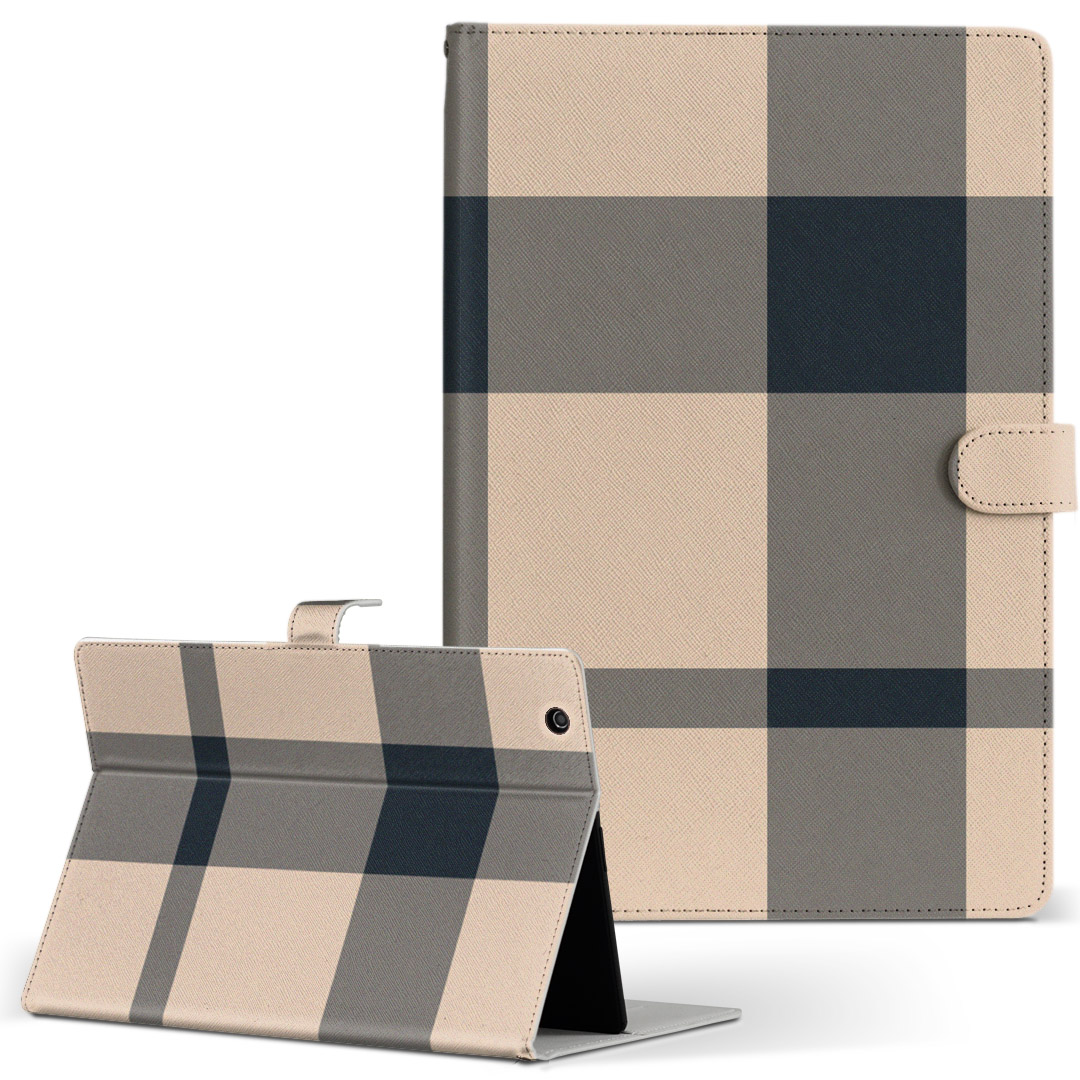 Qua tab PZ 手帳型ケース レザー かわいい ダイアリー 人気 タブレット ケース カバー キュアタブ 二つ折り 驚きの値段で 004337 革 チェック QuatabPZ タブレットケース 黒 フリップ Lサイズ 手帳型 高級品 ボーダー