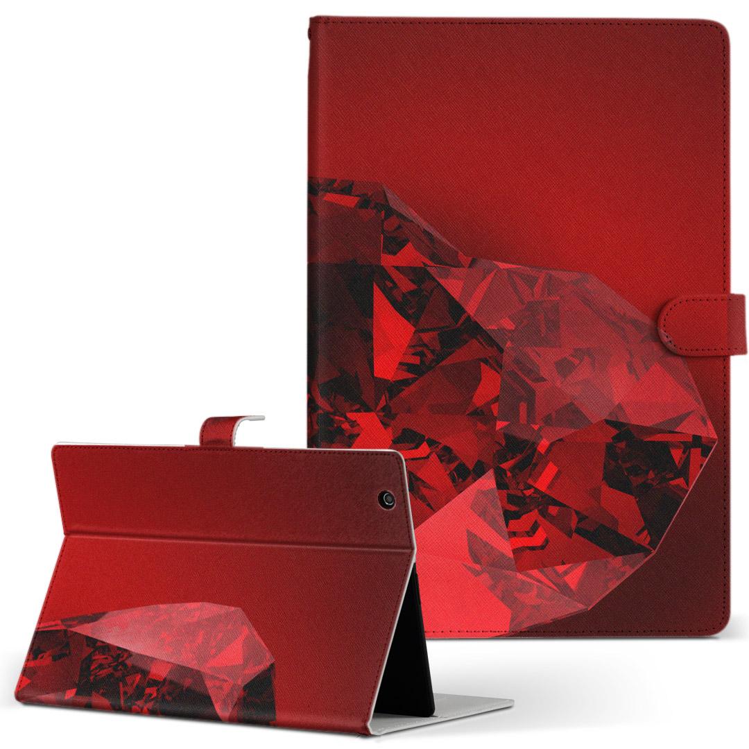 d-01J 手帳型ケース レザー 着後レビューで 送料無料 かわいい ダイアリー メーカー直送 人気 タブレット ケース カバー Huawei dtab Compact ディータブコンパクト 宝石 フリップ 手帳型 Mサイズ 赤 二つ折り 005258 革 タブレットケース ハート d01jdtabct ラグジュアリー
