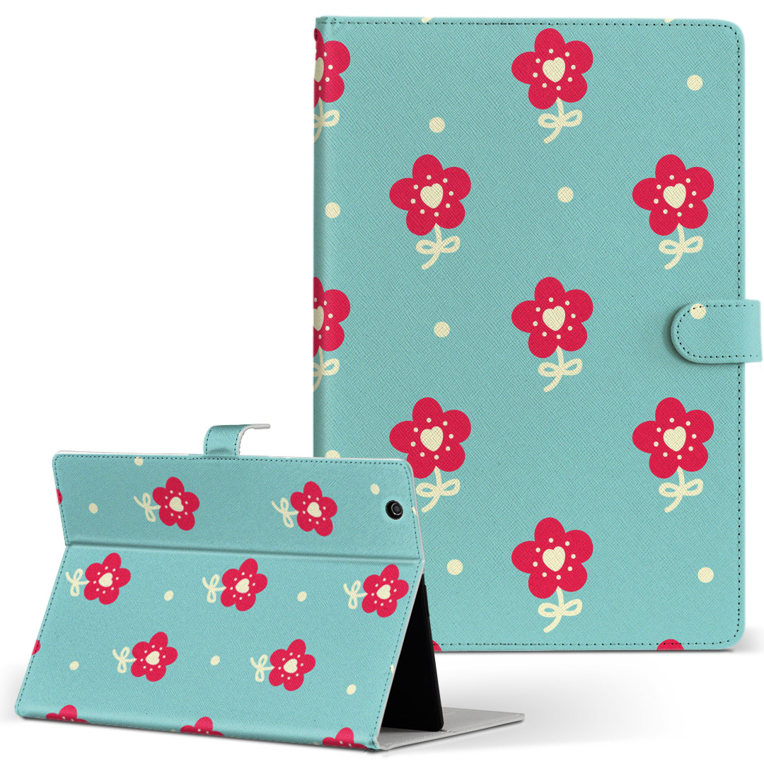 初回限定 iPad mini 4 手帳型ケース レザー かわいい ダイアリー 人気 タブレット ケース カバー Apple ipadmini4 花 水色 レッド Mサイズ 赤 模様 手帳型 フリップ フラワー 二つ折り 008170 革 全国一律送料無料 タブレットケース