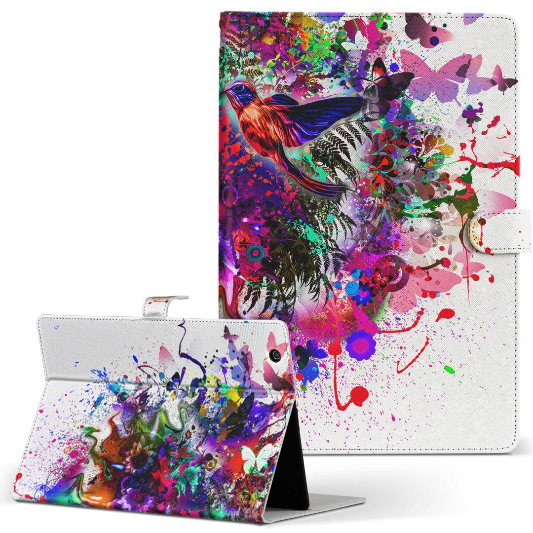 手帳型ケース レザー チープ かわいい ダイアリー 人気 タブレット ケース カバー d-01h Huawei ファーウェイ dtab 革 ディータブ 国産品 カラフル フリップ 二つ折り ペイント タブレットケース 手帳型 d01h 012273 鳥 Lサイズ