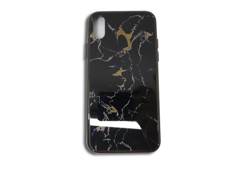 CASE-YA.com セール商品 直営ストア スマホケース 片面 iPhone 7 受注生産品 8 SE2 7Plus 8Plus X Xs 光沢 大理石風 エッジカラー ブラック 携帯ケース スマホカバー 片面ケース カバー XR ケース PC XsMax