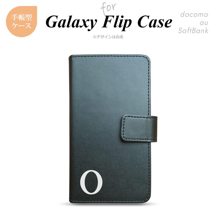 Galaxy 全機種 ギャラクシー S9 S8 SC-02J SCV38 SCV36 他 手帳型 スマホケース ブラック イニシャル O