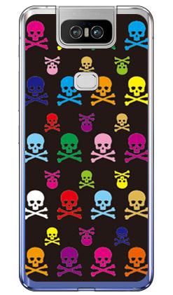 【送料無料】 Skull monogram ブラック マルチ (ソフトTPUクリア) design by ROTM / for ZenFone 6 ZS630KL/MVNOスマホ(SIMフリー端末) 【SECOND SKIN】zenfone 6 ケース zenfone 6 カバー zs630kl ケース zs630kl カバー ゼンフォン6 ケース ゼンフォン6