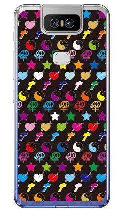 【送料無料】 PEACE monogram ブラック マルチ (ソフトTPUクリア) design by ROTM / for ZenFone 6 ZS630KL/MVNOスマホ(SIMフリー端末) 【SECOND SKIN】zenfone 6 ケース zenfone 6 カバー zs630kl ケース zs630kl カバー ゼンフォン6 ケース ゼンフォン6