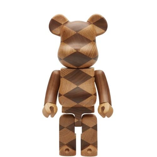 MEDICOM X KARIMOKU WOVEN WOODEN BEARBRICK Brown 400% メディコム カリモク ベアブリック ブラウン ブランド コラボ 木製 木 ハンドメイド 限定品 完売品 1点もの