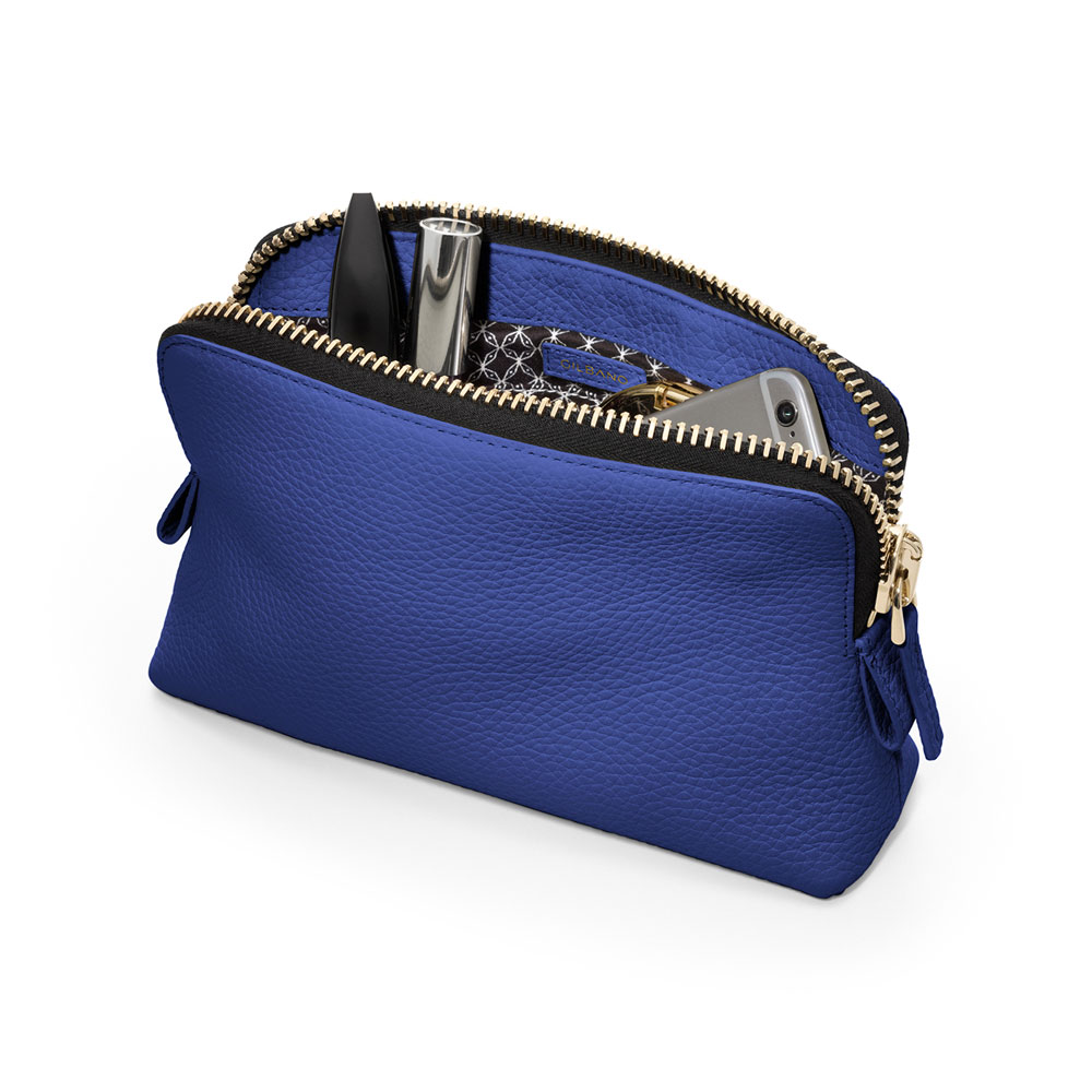 GILBANO COSMETIC BAG WINDSOR Electric Blue/White コスメバッグ 旅行 ポーチ 牛革 レザー 小物収納 レザーバッグ ポーチ《 ジルバーノ 》 458039529