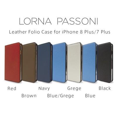 【正規販売代理店】 《 LORNA PASSONI 》Leather Folio Case for iPhone 8 Plus/7 Plusケース【 手帳型 / パスケース付 / カード収納 / 箱入り 】 《 ロルナ パッソーニ スマホ スマホケース アイフォン7プラス 》 4580395