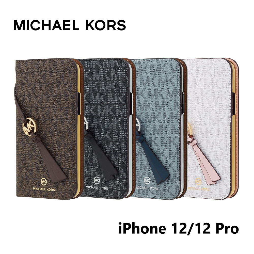 MICHAEL KORS iPhone12 iPhone12Pro 手帳型ケース カード収納 3枚 Folio Case Signature with Tassel Charm