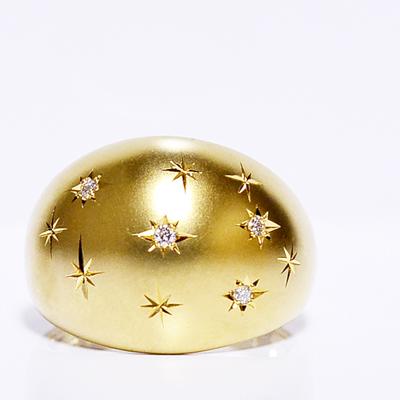 スターセットリング/ゴールドナイト/夜空モチーフ/ダイヤモンド/月甲丸/ボリュームリング/つや消し/イエローゴールドK18WG,K18PG,K18YG製作 NIGHT SKY STAR RING DIAMOND 誕生日クリスマスプレゼント