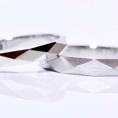 pt900プラチナレディース-ポリッシュ メンズ-ヴィンテージカットリング ひし形 三角形 2.5mm 3mm鍛造ペアリング2本製作マリッジリング結婚指輪