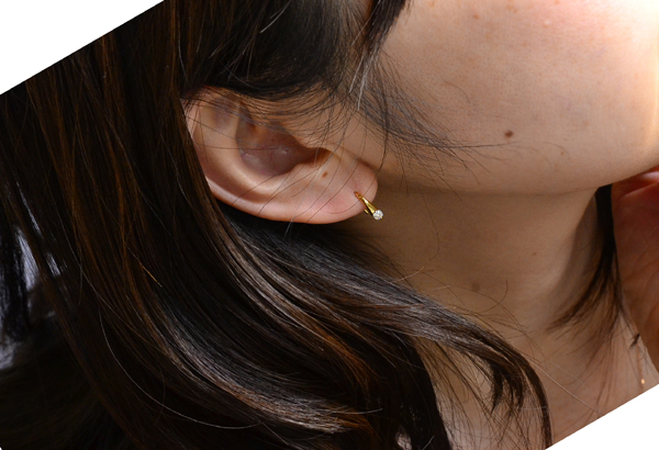 """K18PG 粉紅色) 鑽石美國型穿孔的短尾巴"""""""""""