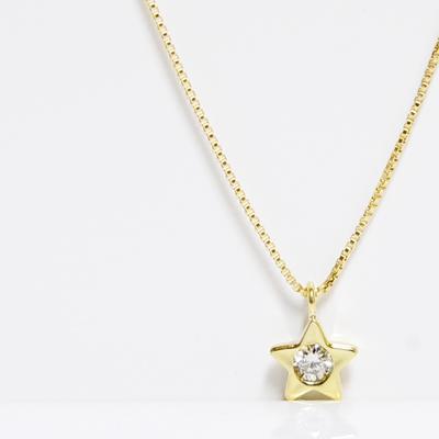 プチスター ダイヤモンド ヌーディーペンダントネックレス イエローゴールド 0.03ct ベネチアン K18YG putiSTAR DIAMOND PENDANT NECKLACE誕生日プレゼント