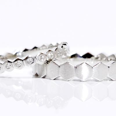 pt950(ハードプラチナ) ペアリング(2本)製作 ストレーヘキサゴン フルエタニティー ダイヤモンド メンズ&レディース ペアリング マリッジリング 結婚指輪
