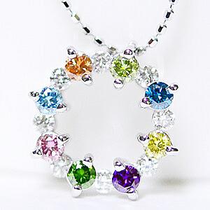 K18WG(ホワイトゴールド) ファンシーカラー ダイヤモンド オープンラウンド フラワー ペンダント ネックレス誕生日クリスマスプレゼント