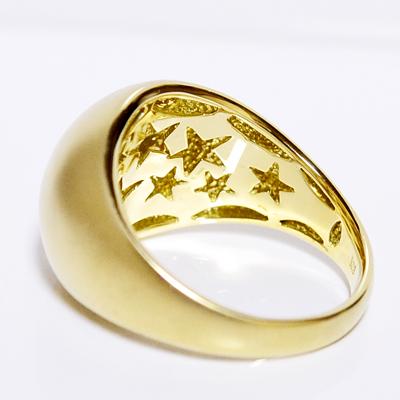 バックスターボリュームリング/月甲丸つや消し/イエローゴールドK18WG,K18PG,K18YG製作 BACK STAR RING誕生日クリスマスプレゼント