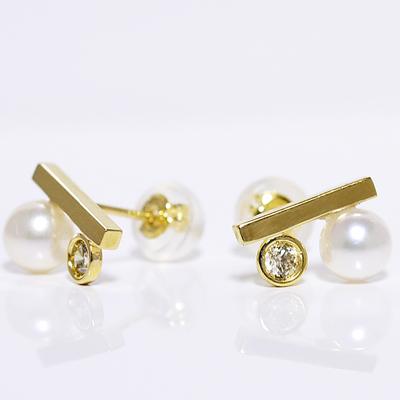 スクウェアピアス ダイヤモンド+パール イエローゴールド K18YGあこや真珠0.10ct誕生日クリスマスプレゼント