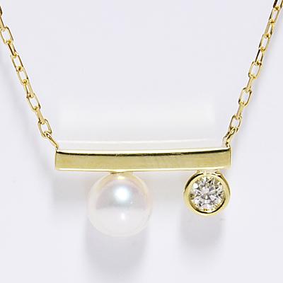 スクウェアスティックwithパール+ダイヤモンド ペンダント ネックレス イエローゴールド K18 SQUARE PENDANT NECKLACEあこや真珠+0.05ct誕生日クリスマスプレゼント