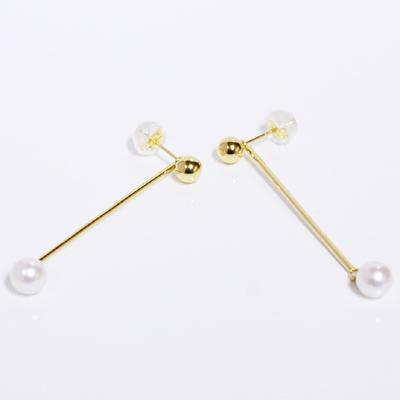 ボールピアスwithスティックパール チャーム 2WAYピアスイエローゴールド K18YG あこや本真珠 5mm誕生日クリスマスプレゼント