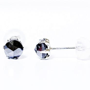 ローズカット ブラックダイヤモンド1.00ct 6点留め スタッド ピアス 1.00 Pt900(プラチナ)製誕生日クリスマスプレゼント