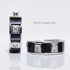 ホワイトゴールド オニキス/ダイヤモンド リングピアス /中折れフープタイプ/バネ入り K18WG ONYX DIAMOND PIERCE
