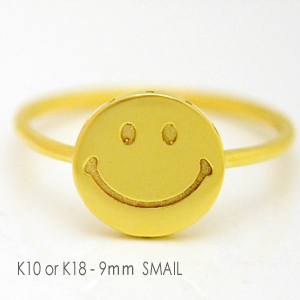 ホワイトゴールド/ピンクゴールド/イエローゴールド 9mmスマイル リング SMAIL PLATE RING K10WG,PG,YG /K18製作 誕生日クリスマスプレゼント