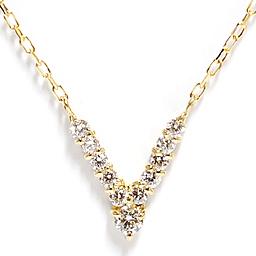 V-LINE  ネックレスK18YGイエローゴールド ダイヤモンド0.13 NECKLACE/ホワイトゴールド、ピンクゴールド プラチナ別注可誕生日クリスマスプレゼント Vライン ペンダント DIAMOND PENDANT