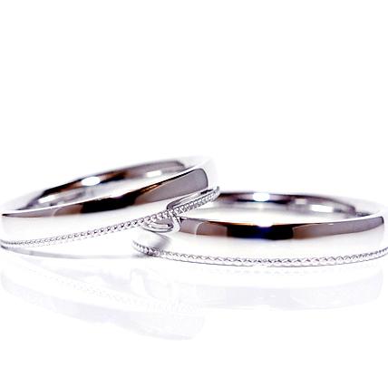 アーガイルメンズ&ハートミルレディースpt900ペアリングマリッジリング結婚指輪 プラチナ鍛造製ペアリング(2本)製作 ミルライン