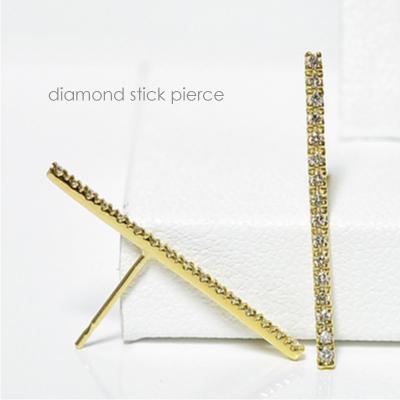 ストレートスティック ダイヤモンド ロングピアス ホワイトゴールド ピンクゴールド イエローゴールド K18WG K18PG K18YG プラチナ別注可誕生日クリスマスプレゼント