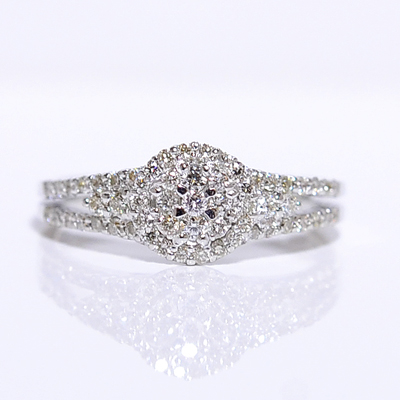K18WG(ホワイトゴールド)ダイヤモンドリング/クラッシック/2ライン/ K18PG,YG,pt900別作可