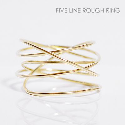 5連ラフリング ピンキーリング/1mm/丸線/ハンドメイドイエローゴールド K10YG/FIVE LINE ROUGH RING【楽ギフ包装】誕生日クリスマスプレゼント