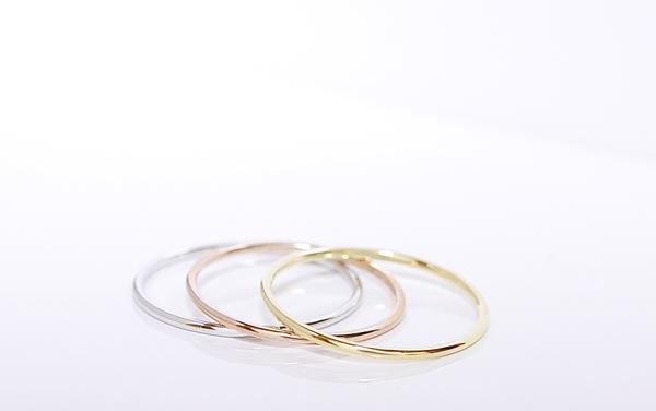 1 毫米普通紙環 K10WG/PG/YG 白色,粉紅色和黃色金 1 毫米普通紙環