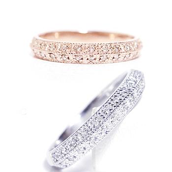 ダブル ハーフエタニティー ダイヤモンドリング クラッシック ホワイトゴールド ピンク、ゴールド イエローゴールド 0.15-0.17/double half eternity daimond ring classic/K10WG/PG/YG K18、pt900別作可誕生日クリスマスプレゼント