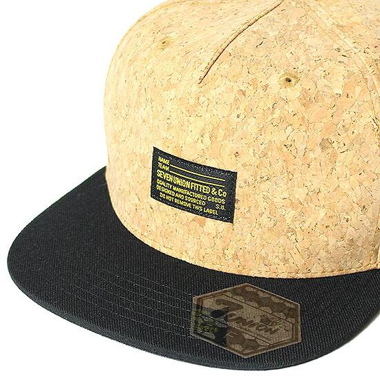 7UNION 7ユニオン Inspection Cork Snapback Cap スナップバック キャップブラック×コルク 7UNION キャップX8n0wkNOP