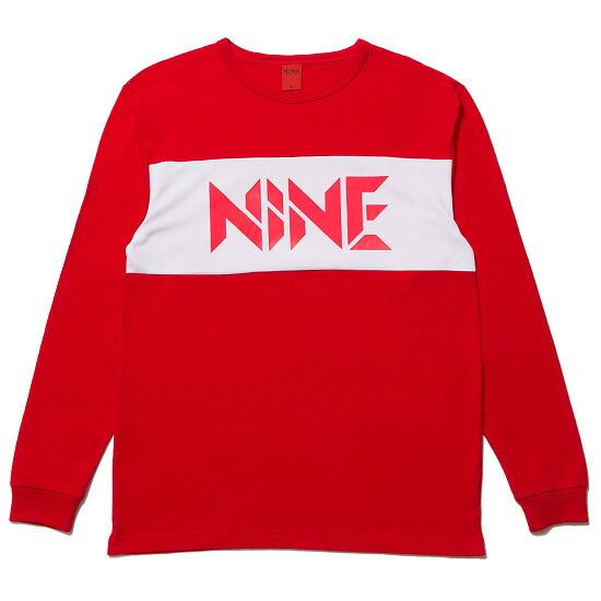 【エントリーでポイント20倍】 NINE RULAZ LINE ナインルーラーズ Mesh Logo LS Tee カットソー 長袖 Tシャツ レッド