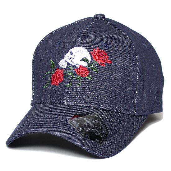 7UNION 7ユニオン Rose Skull Bent Brim Cap ボールキャップ 帽子 デニム ICVW-101
