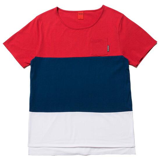 NINE RULAZ LINE ナインルーラーズ Tricolor Tee 半袖 Tシャツ カットソー トリコロール レッド NRSS16-034