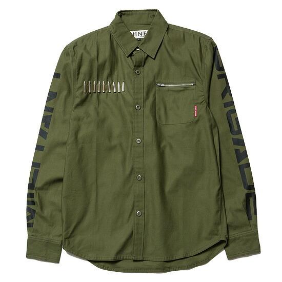 送料無料 NINE RULAZ LINE ナインルーラーズ Military Shirt ミリタリーシャツ 長袖 NRAW16-031 オリーブ