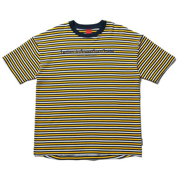 送料無料 NINE RULAZ LINE ナインルーラーズ Knit Border Tee 半袖 ボーダー Tシャツ ドロップショルダー NRSS17-025 イエロー