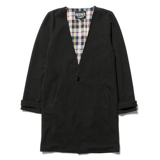送料無料 NINE RULAZ LINE ナインルーラーズ Collarless Spring Long Coat ロングコート NRSS17-001 ブラック